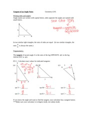 Tangent of an Angle Notes