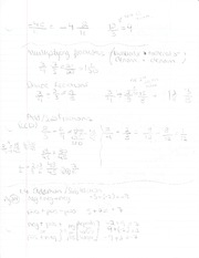 Class Notes - Chapter 1.4 and Fraction Multiplication, Addition, Substraction