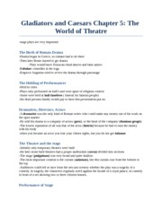 CS 2300B - Study Notes by Theme -  (17) The World of Theatre