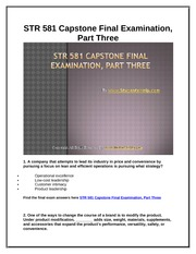 STR 581 Capstone Final Exam Part Three UOP Complete Class Assignments