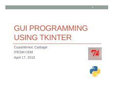 GUI Programming using Tkinter pdf - 1 GUI PROGRAMMING USING