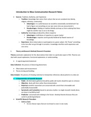 Introduction to Mass Communication Research Notes