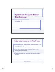 Slides 7 Systematic Risk and Return