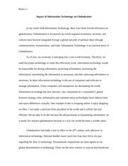 GS paper Impact of Information Technology on Globalization