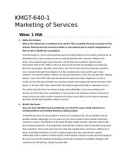 KMGT 643 Marketing of Services - Week 1 HIA