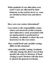 What methods of cost allocation were used