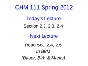 Lecture 5 CHM111 Student Slides