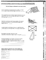 Pythagorean Word Problems - Use the Pythagorean theorem to