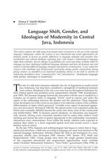 Nancy J. Smith-Hefner - Language Shift, Gender, and Ideologies of Modernity in Central Java, Indones