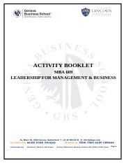 Leadership Actvity Booklet