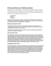 Personal Decison‐Making Styles