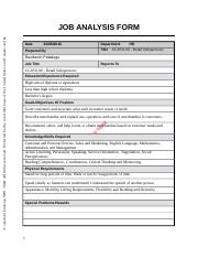 Job Analysis FORM OBHRM Assignment 2