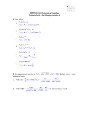 Solutions for Problem Set 6 (Cost Function)