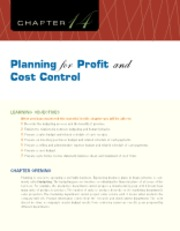 Chapter 14 Planning for Profit and Cost Control