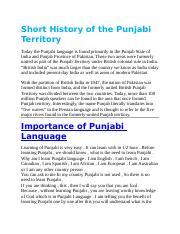Importance of Punjabi Language 123 docx - Short History of