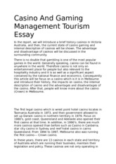 Casino And Gaming Management Tourism Essay