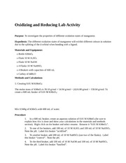 Oxidizing and Reducing Lab