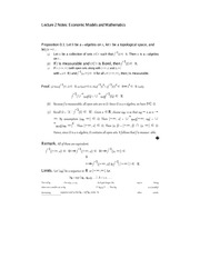 Lecture 2 Notes Economic Models and Mathematics