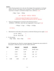 Kinetics Problem Set and Answers