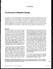 Evolution of Magnetic storage
