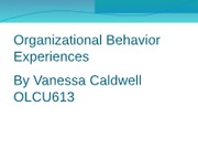 Organizational Behavior ExperiencesPP