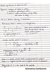 Chapter 11 Notes- Kinematics of Particles