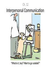 Ch. 12 - Interpersonal Communication notes