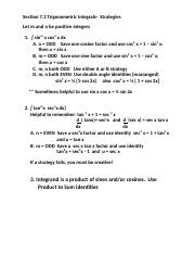 M 408L Section 7.2 Strategies for trig  integrals.docx