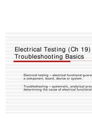 Electrical Testing & Troubleshooting Basics - Ch19