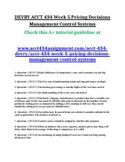 ACCT 434 Week 5 Pricing Decisions Management Control Systems.doc