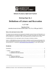 Leisure and recreation definition