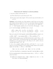 Homework 9 Solution Spring 2014 on Number Theory