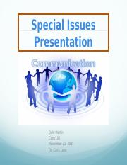 Special Issues Presentation