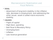 Macroeconomic Stabilization and Fiscal Reforms