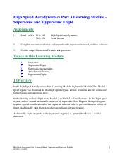 13 High Speed Aerodynamics Part 3 Learning Module - Supersonic and Hypersonic Flight