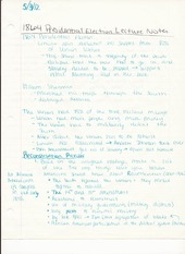 History 205 Lecture Notes on 1864 Presidential Election