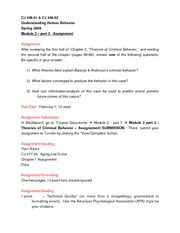 Module 2 part 2 - Theories of Criminal Behavior - Assignement Instructions