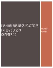 BUSN10 FM 116 Chapter 10 - Financial Markets.pptx