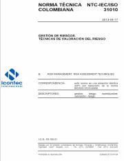 iso31010 pdf - NORMA TECNICA COLOMBIANA NTC-IEC/ISO 31010