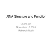 1. tRNA Structure and Function - Nov12