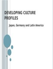 Developing Culture Profiles