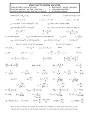 Exam 2 equation sheet