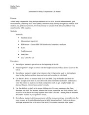 body composition lab report example