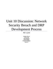 Unit 10 Discussion - Network Security Breach and DRP Development Process