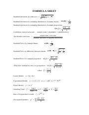 FORMULA SHEET and tables for Exam paper (1)
