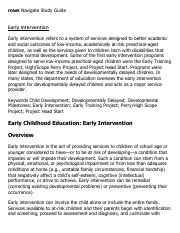 early intervention research paper Synthesis of ies research on early intervention and early childhood education v this report was prepared for the national center for special education research.
