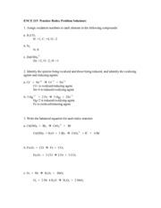 ENCE 215  Practice Redox Prob Solutions