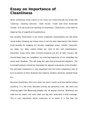 neatness and cleanliness essay