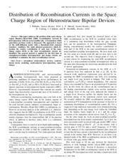 Distribution of Recombination Currents in the Space Charge Region of Heterostructure Bipolar Devices