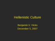 CC 301 - Hellenistic Greek Culture